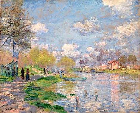 Claude Monet, Spring by the Seine  on ArtStack #claude-monet #art