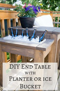 This DIY end table is genius! Switch out the planter box for an ice bucket during summer BBQs. Free woodworking plans at The Handyman's Daughter. | outdoor furniture | woodworking | free plans | outdoor side table | DIY side table | wooden planter | party