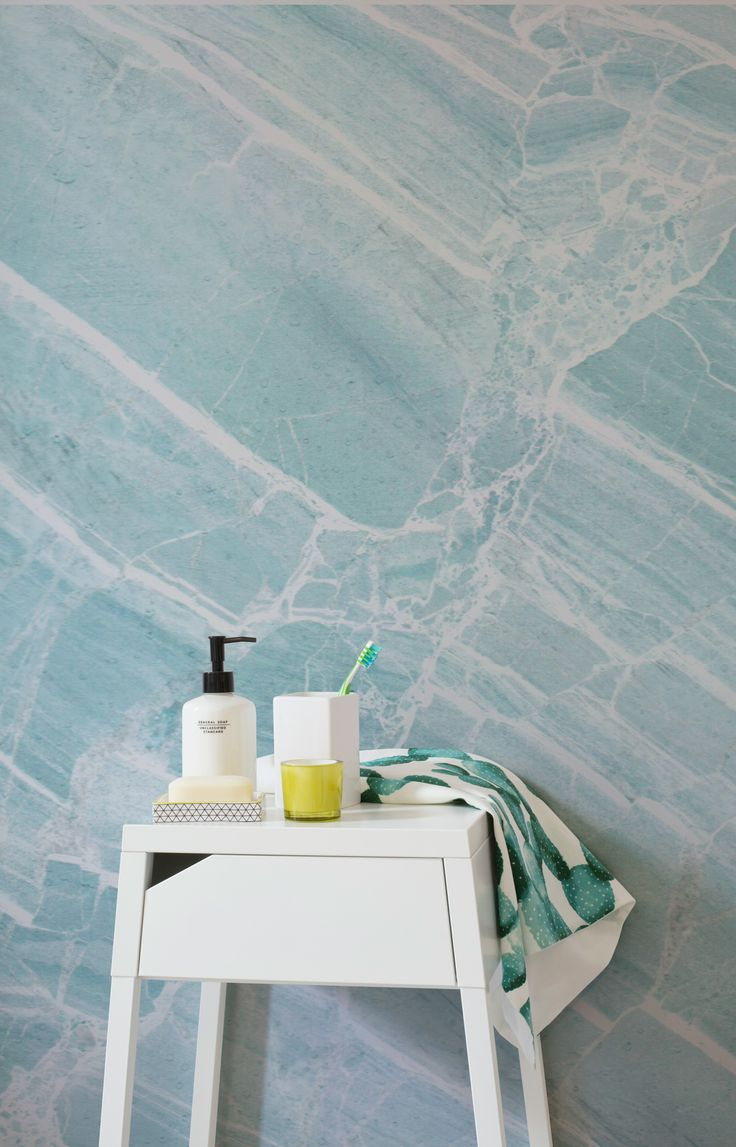 Perfect the minimal look in your home with this marble wallpaper design. Icy blues are cut through with streaks of pure white, giving your bathroom spaces a refreshingly stylish colour palette.