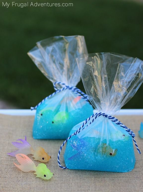 Mermaid party ideas: Fish in A Bag Slime by My Frugal Adventures