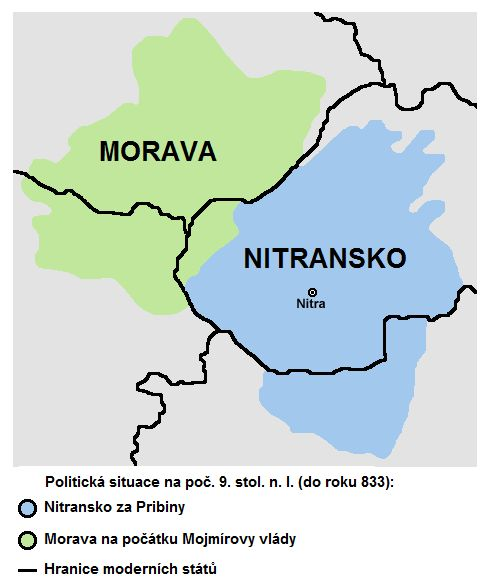 Nitra moravia 833-cs.png - South Moravia is part of the historic area , which is indeed closely related to the Czech statehood , but always maintained a special position . Its territory was an important first state formation - Great Moravia . Even after the conquest of Moravia, Czech Prince Ulrich ( 1031 ) was respected their autonomy , which resulted eg . That there was established a separate Moravian Margraviate