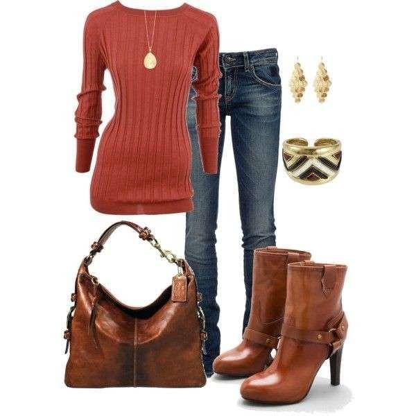 Jeans e stivaletti con tacco alto - Look easy chic per le mattinate fredde in città in cui con un paio di jeans e gli accessori giusti potrete avere un aspetto glamour e curato. Trovare il modo di valorizzare un paio di jeans stretch è più facile di quanto pensiate, anche se volete abbinarli a un semplice maglione come quello nella foto, o magari a un top con cardigan lungo e aderente. Scegliete degli ankle boot con tacco alto in pelle o in ecopelle marrone (la nuova collezione Primadonna è…
