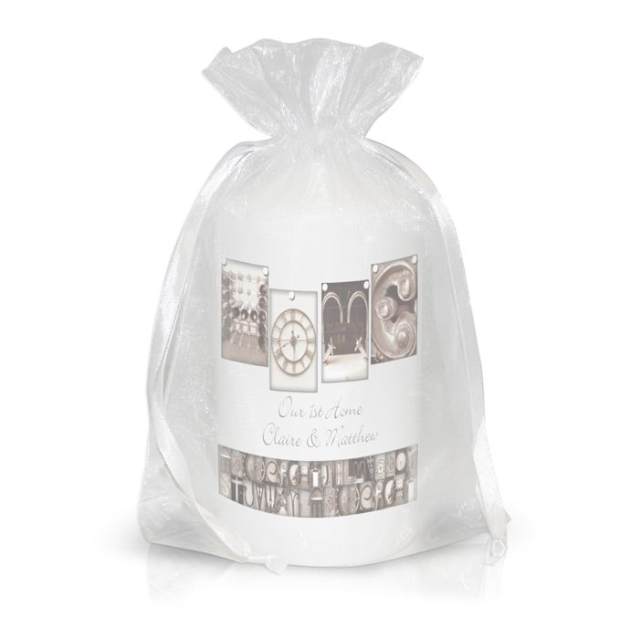 Personalised Affection Art Home Candle  This candle comes presented in an organza bag and the image is made up of different architectural images to display the word Home. It can also be personalised over 2 lines with 25 characters in each line. £9.99