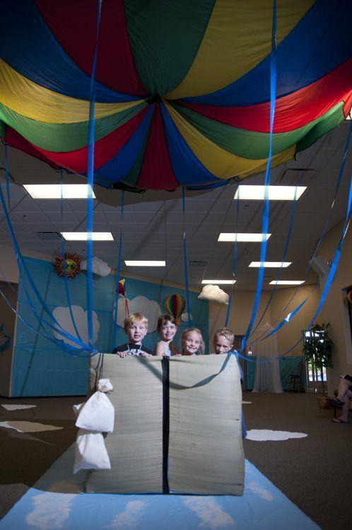 Indoor hot air balloon prop