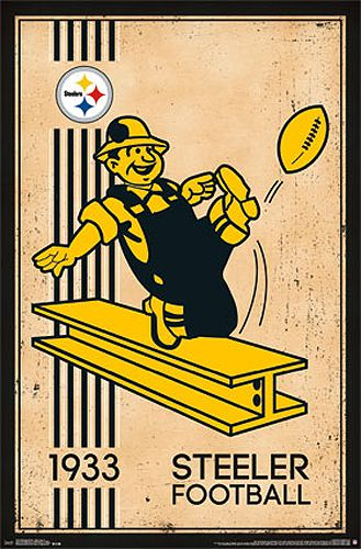 NFL Heritage Series PITTSBURGH STEELERS Official Retro Logo Team Poster - Costacos Sports