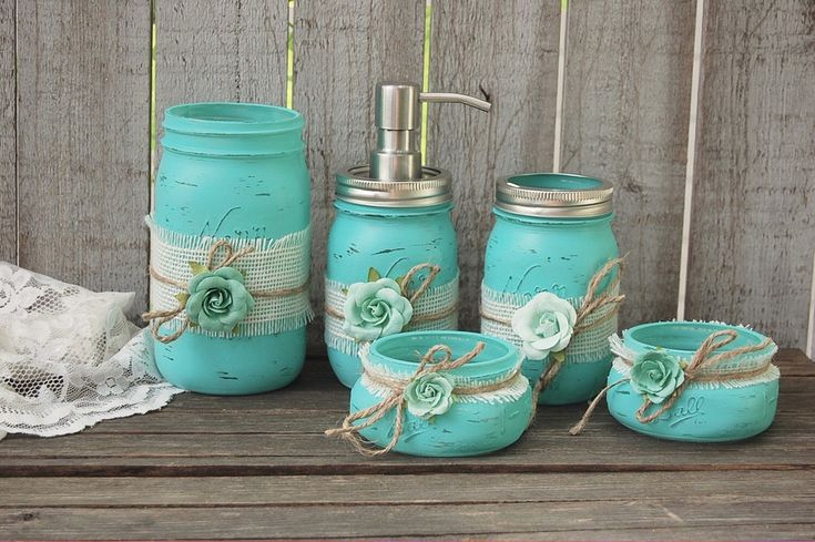 Aqua mason jar bathroom set