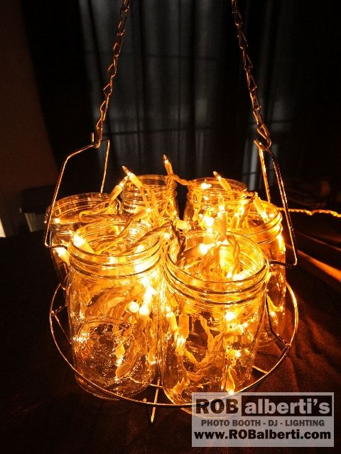 Pretty DIY Mason Jar Lighting - perfect for a wedding.