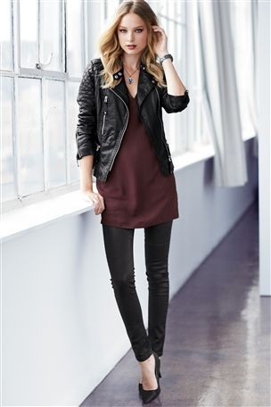 Black Leather Biker Jacket, Sequin Tunic and Coated Skinny Jeans