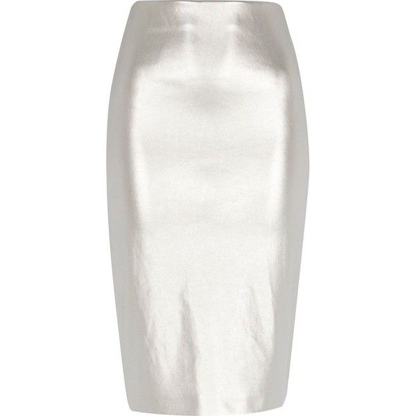 River Island Silver metallic pull on pencil skirt ($16) ❤ liked on Polyvore featuring skirts, river island, sale, silver, women, tall skirts, pencil skirt, silver pencil skirt, white knee length skirt and knee length pencil skirt