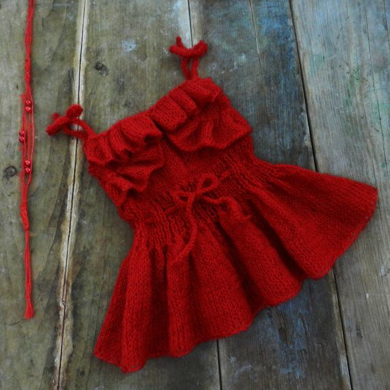 Red knitted baby dress and handband/  Baby girl by GabriCollection