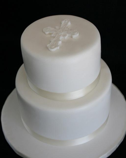 White Baptism Cake | Flickr - Photo Sharing!