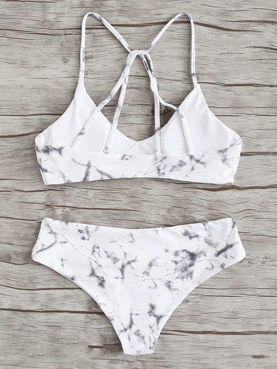 52bbf23a65 Criss Cross Top With Marble Print Bikini Set -SheIn(Sheinside ...