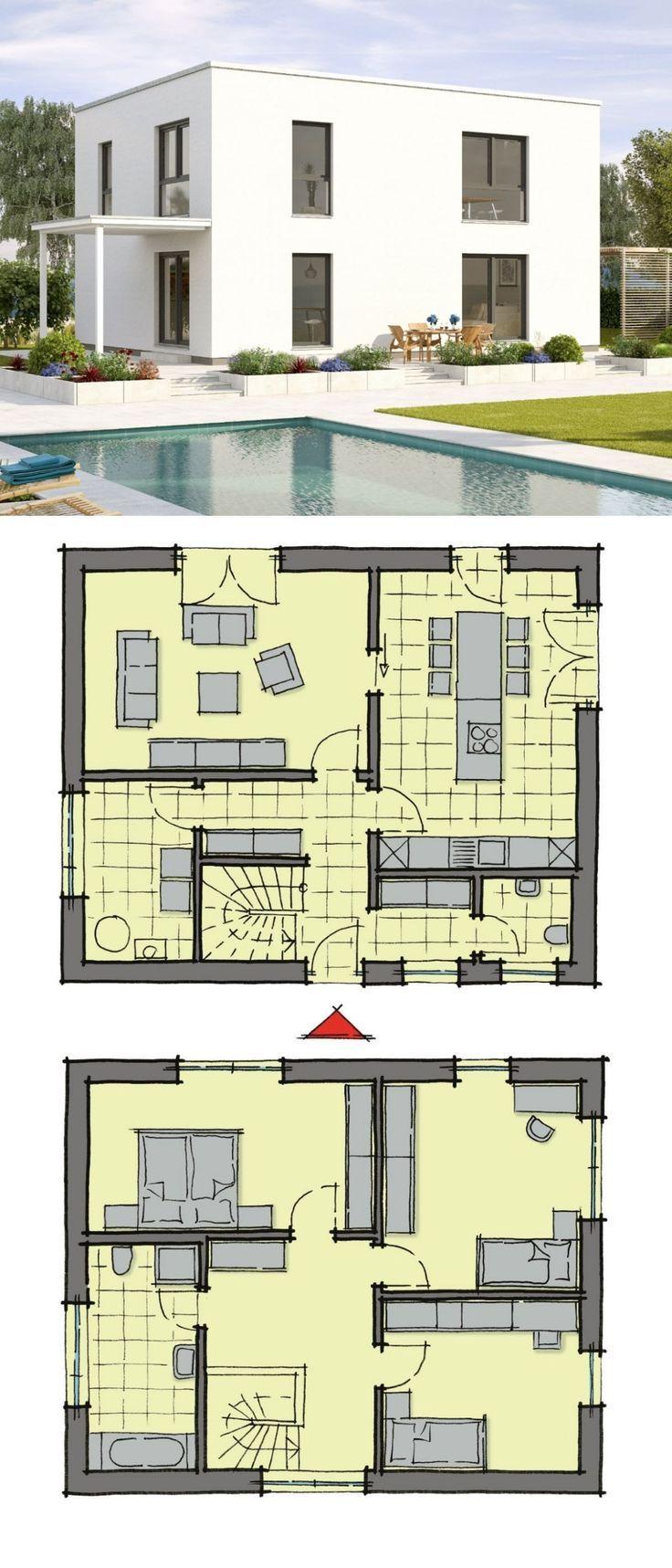 Modernes Einfamilienhaus zweigeschossig im Bauhausstil mit