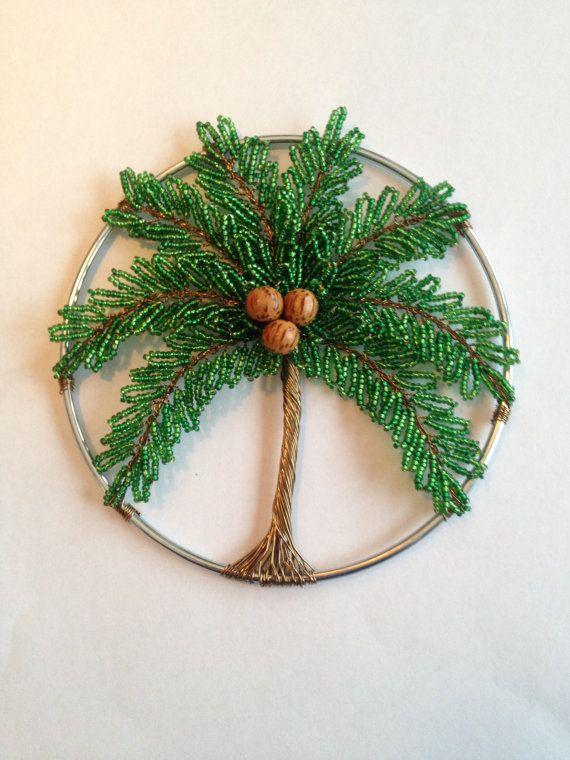"5"" - Palm Tree Sun Catcher, Decoration, Unique gif,  Gift idea, Beaded art, Beach"
