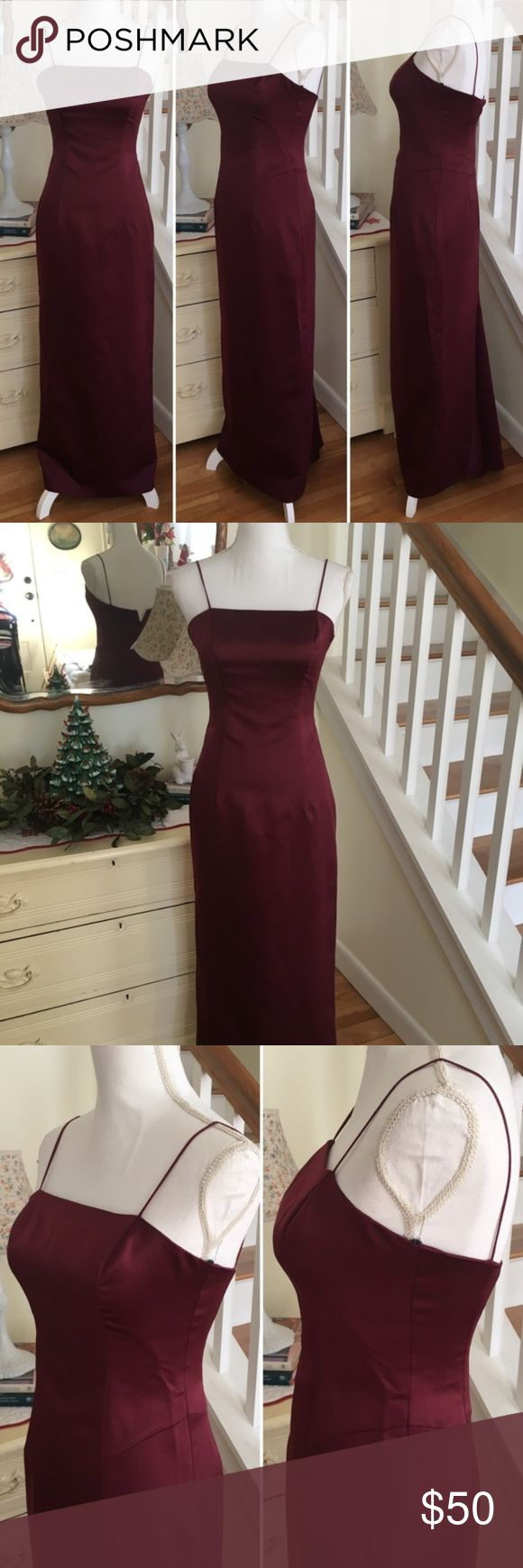 "After Six Cranberry Evening Bridesmaid Gown This floor length, cranberry colored evening gown from After 6 features spaghetti straps and a back zipper (zipper goes all the way up, mannequin was too large). Size: 4. Length: 55"". Chest: 15 - 15.5"". Waist: 13.5"". After Six Dresses Wedding"