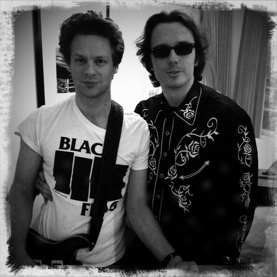 Jacob Pitts (Deputy US Marshal Tim Gutterson, Justified) and Damien Echols (freed member of the West Memphis 3). So love that he's wearing a Black Flag shirt.