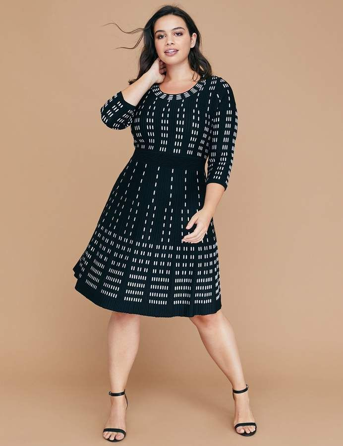 d8fcd810086 Lane Bryant Vertical Pattern Fit   Flare Sweater Dress in 2019 ...