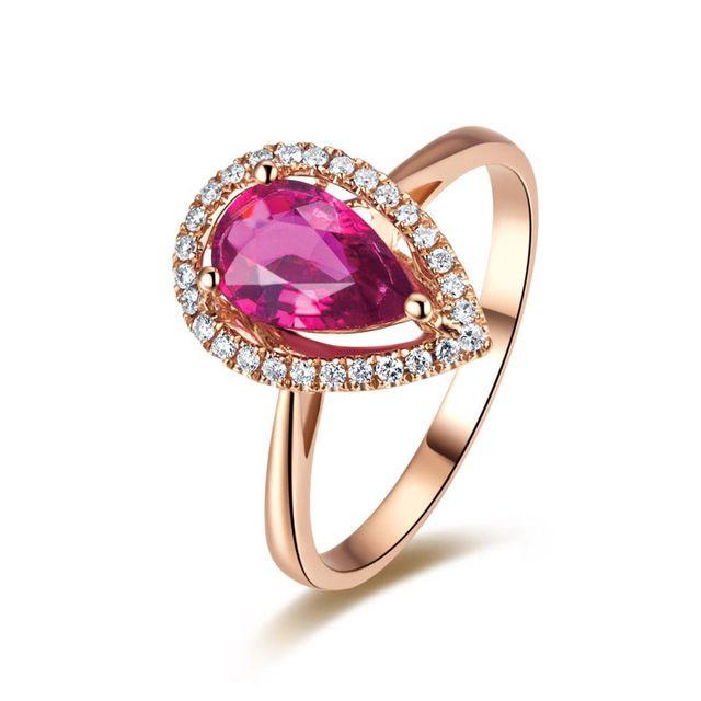 Cubic Zircon Prong definir Rosa de Ouro Em Forma de Pêra Vermelho Mulher Anéis De Noivado Da Princesa CZ Anéis Zircon Anéis de Dedo