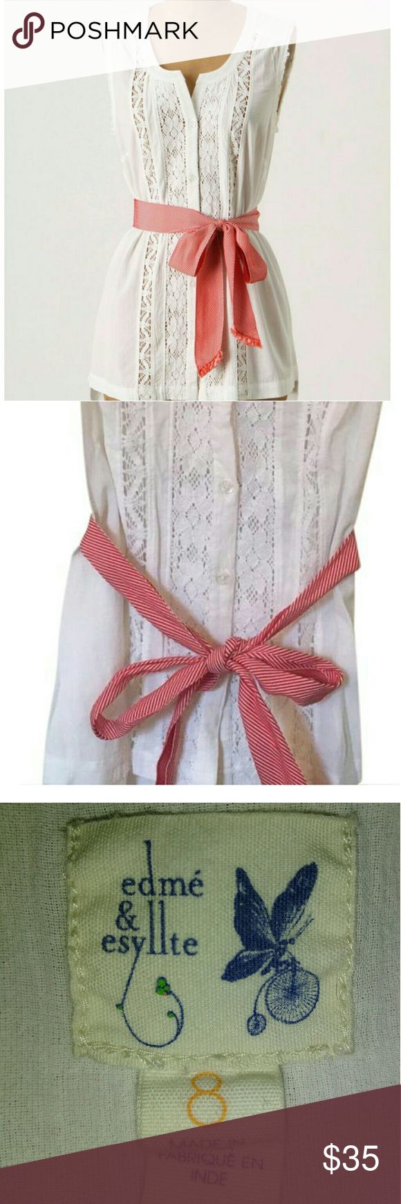 ANTHROPOLOGIE Edmé&Esyllte Lace Inset Stripe Sash Cute corton-linen blouse with diagonal striped, fringed sash Sleeveless with raw edges fringed Sash still tacked to blouse, thread belt loops Anthropologie Tops Button Down Shirts