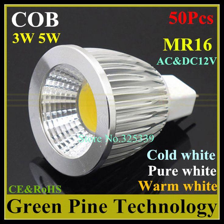 Free shipping 50 pcs Dimmable 5W 3W MR16 AC&DC12V LED COB Spot light Droplight lamp bulb Light Lighting LED Ceiling spotlight