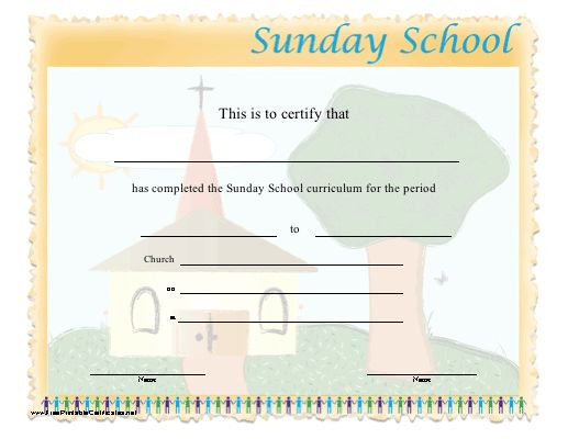 This certificate certifies the completion of sunday school for Bible study certificate templates