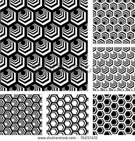 Stock Vector Seamless Geometric Patterns Designs Set With Hexagonal Elements Illustration