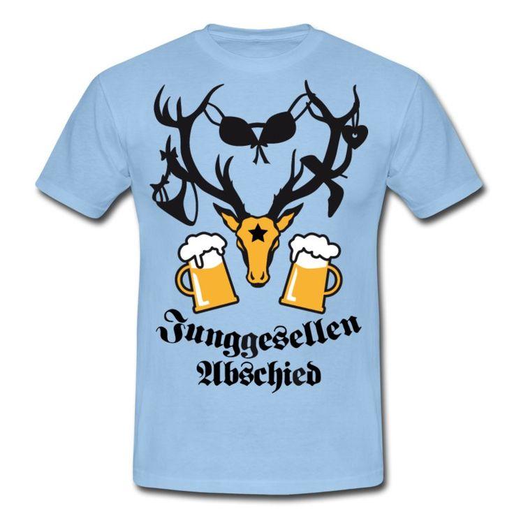 """Ein passendes Outfit für Junggesellen-Abschieds-Party. Herren T-Shirt mit dem Hirschkopf-Design   Spruch """"Junggesellen-Abschied"""". T-Shirts mit witzigen Motiven zu jedem Anlass. Geschenkidee zum Junggesellenabschied. http://bavaria-fashion..de/ #Hirsch #jga #stag #deer #junggesellenabschied #hangover #tshirts #teamw #bräutigam #bachelor #party #groom"""