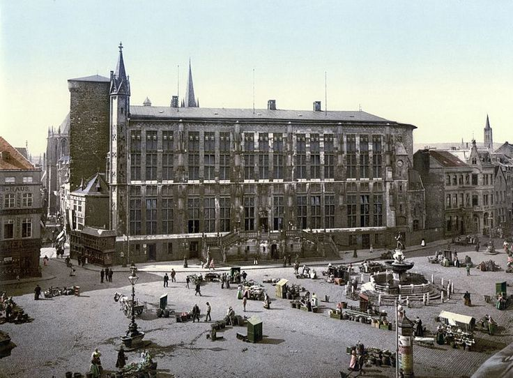 Hotel de Ville and market place, Aachen, the Rhine, Germany, around 1900.