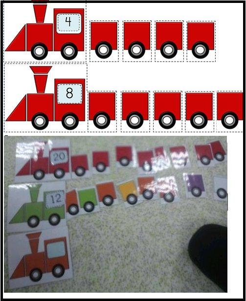 kijk naar het getal en leg evenveel karretjes achter de locomotief