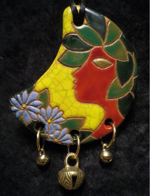 """Muriel Gosselin"" workshop (France). 2015 Argilla. Aubagne. France. International pottery fair. Jewels. Enamels.Necklace"
