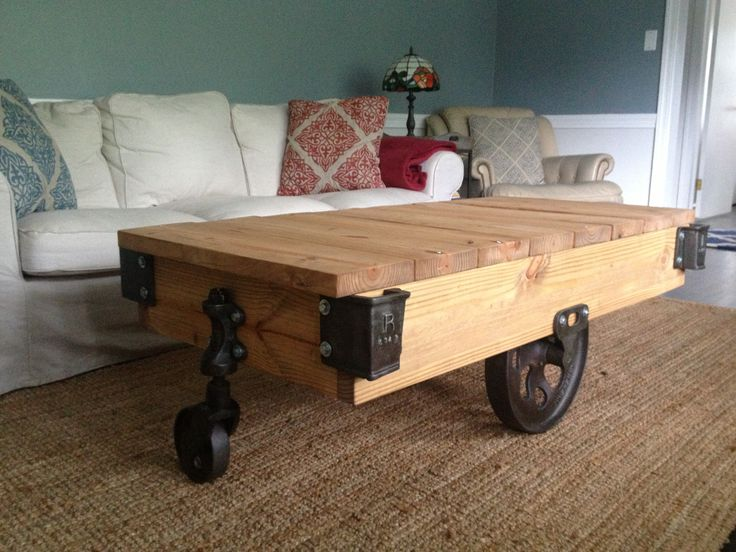 Antique Factory Cart Coffee Table Rebuilt Frame And