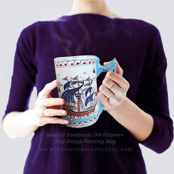 Handmade painting mug Ceramic Mug Turkish Ceramic Ottoman, fatherdays gift ideas