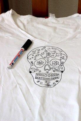 Transfert sur t-shirt blanc
