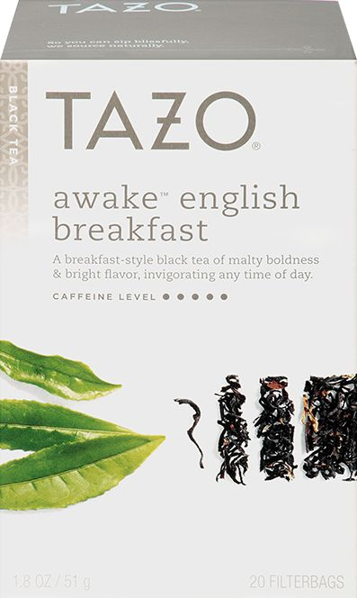 Tazo Awake™ English Breakfast Black Tea | A breakfast-style black tea of malty boldness and bright flavor, invigorating any time of day. | The sun peeks over the horizon through the clouds, a star streaks undetected across the sky and the world begins anew. This bold and flavorful blend of black teas will send you down the day's path wondering where it will take you and if it's possible to bring along a friend.