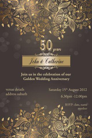 50th anniversary invitations, 50th wedding anniversary invitation, 50th wedding…                                                                                                                                                                                 Más