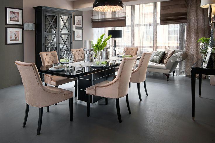 contemporary stílusú étkező - fekete asztal - konzolasztal contemporary style dining room