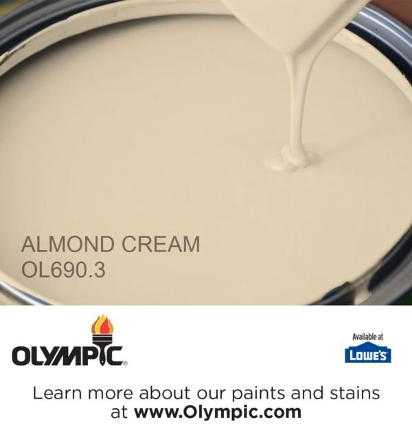 ALMOND CREAM OL690.3 is a part of the beiges collection by Olympic® Paint. @olympicfinishes  for guest bedroom makeover.  @lowes @olympicfinishes