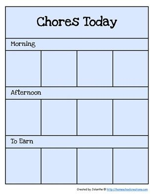 Our chore charts for the older kids are working well, but since Kaleb can't read yet I made his a little more 'preschool' friendly and used picture cards to help him see what he needed to do. The cards are the same size as my workbox activity c