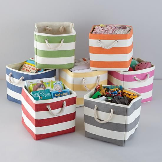 "Stripes Around the Cube Bin $12.95 11""Wx11""Dx11""H http://www.landofnod.com/stripes-around-the-cube-bin/f12098"