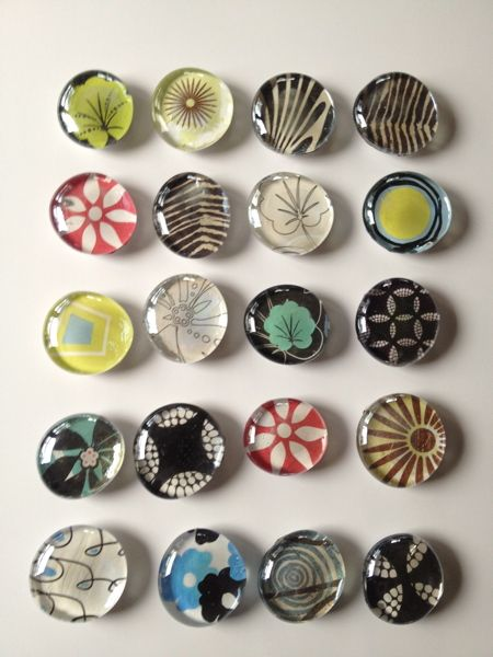 Easy DIY instructions for pretty glass refrigerator magnets with 1/2 glass beads from floral supplier & patterned craft papers...