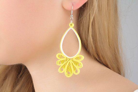 Long paper dangle earrings by DesignerJewelryShop on Etsy