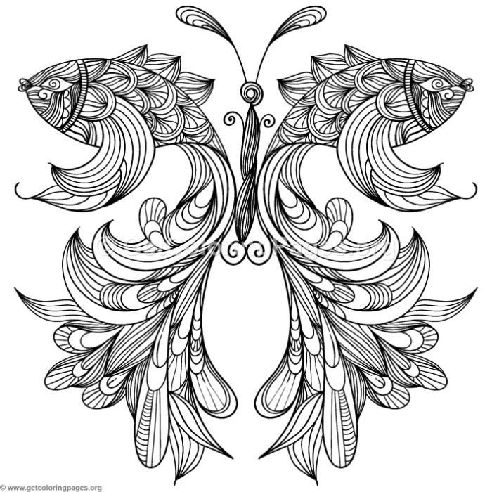 Free download Zentangle Beta Fish Butterfly Coloring Pages ...