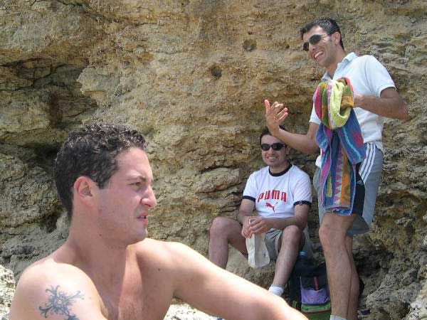 189 Steve and Ryan sharing a joke while Sharlo is debating whether to go for a swim and face the jellyfish or just stay sunbathing.