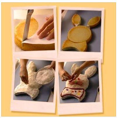 hoe maak je van een twee ronde taarten  eentje in de vorm van een paashaas