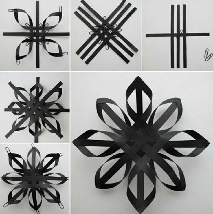 papier stern streifen schwarz idee anleitung weihnachten