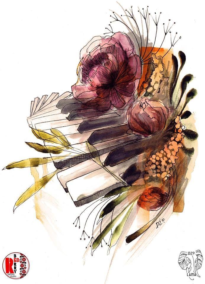Redberry Tattoo Studio Wrocław #tattoo #inked #ink #studio #wroclaw #warszawa #tatuaz #dresden #redberry #katowice #dzolama #redberrytattoostudio #amaizingtattoo #poland #berlin #sketch #delicate #kwiaty #flowers #aquarel #akwarela #music #muzyka