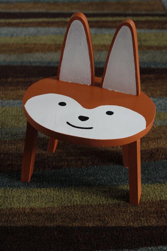 Kids Animal Stool Chair Fox By Brandnewtome On Etsy