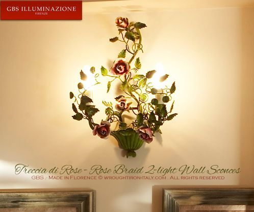 An authentic GBS Tole Wall Sconce - GBS Tole Floral Lamps, hand-made in Florence since 1925. Made in Tuscany