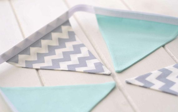 Grey and Mint Nursery Bunting  Grey by LinenandLaceHandmade