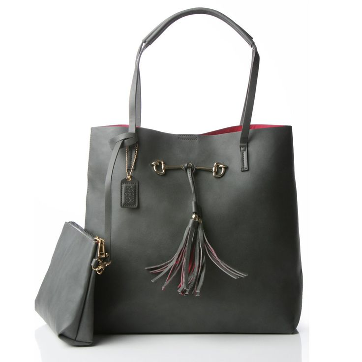 """Weve Bag Co's """"Suze"""" in steel grey is an understated large tote with contrast hot pink interior that evokes a capacious silhouette in a refined design. It will"""